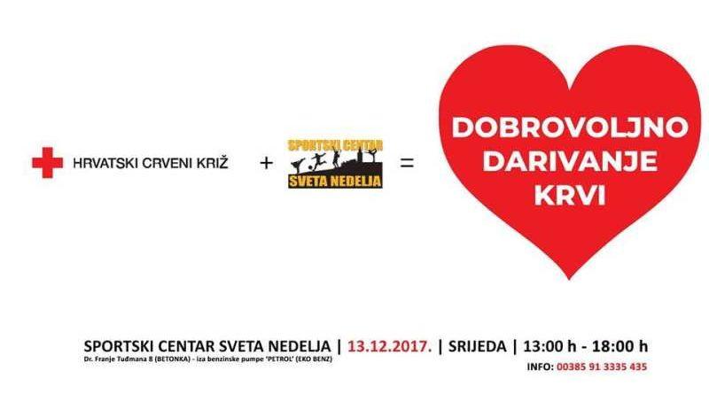 Zadnja akcija darivanja krvi 13. prosinca u Svetoj Nedelji
